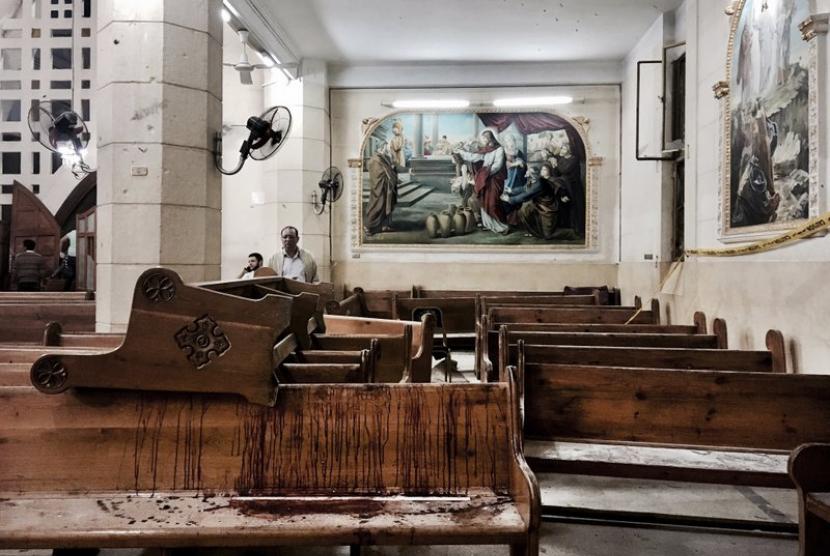 Lokasi Gereja Koptik Mesir yang menjadi sasaran pengeboman.