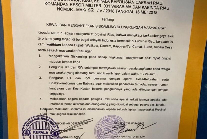 Maklumat bersama Muspida di Riau.