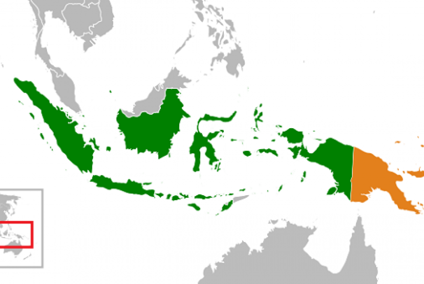 Map of Indonesia (green) and Papua New Guinea (orange)