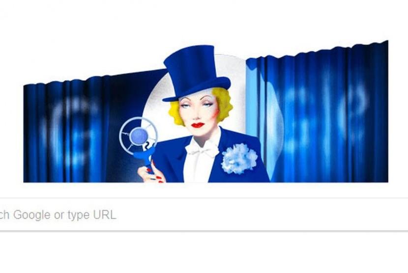 Marlene Dietrich tampil di Google Doodle hari ini.