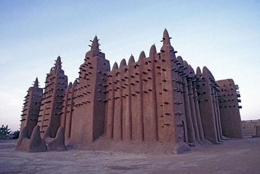 Masjid Agung Djenne di Mali, Afrika Barat.