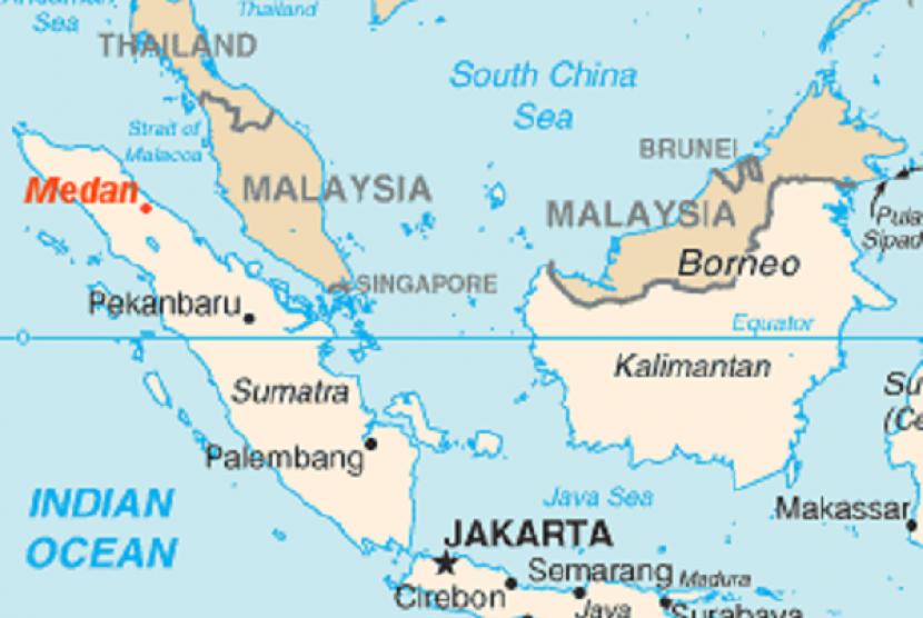 Medan (in red) is still a safe haven for illegal drug. (illustration)