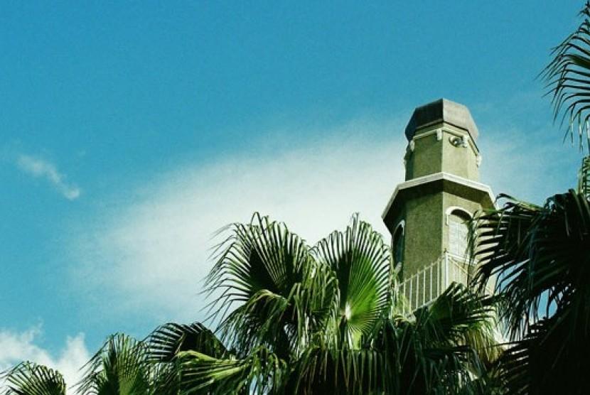 Menara Masjid Al-Awal (Owal), masjid pertama di Cape Town, Afrika Selatan.