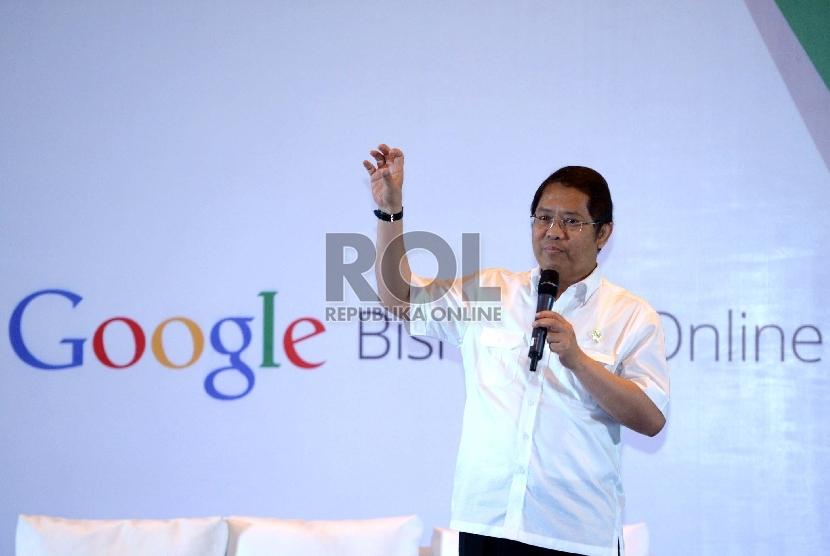 Menkominfo Rudiantara memberikan paparan saat diskusi bersama Google terkait keterlibtan UKM di Indonesia, Jakarta, Kamis (20/8).