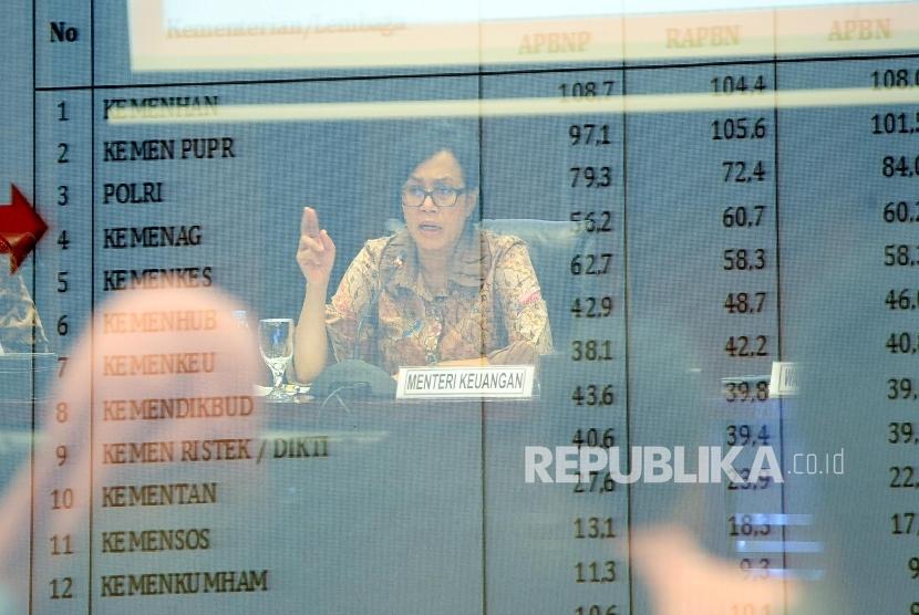 Menteri Keuangan Sri Mulyani menerangkan mengenai postur Anggaran Pendapatan dan Belanja Negara (APBN). ilustrasi
