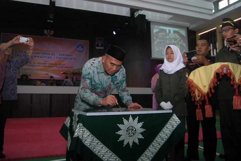 Menteri Pendidikan dan Kebudayaan (Mendikbud), Muhadjir Effendy, meresmikan langsung Grha As-Sakinah SMA Muhammadiyah 1 Yogyakarta, Kamis (14/12).