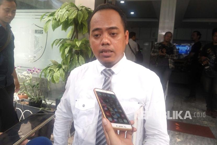 Muannas Al Aidid, pelapor Jonru Ginting menjalani pemeriksaan di Ditreskrimsus Polda Metro Jaya, Senin (4/9).