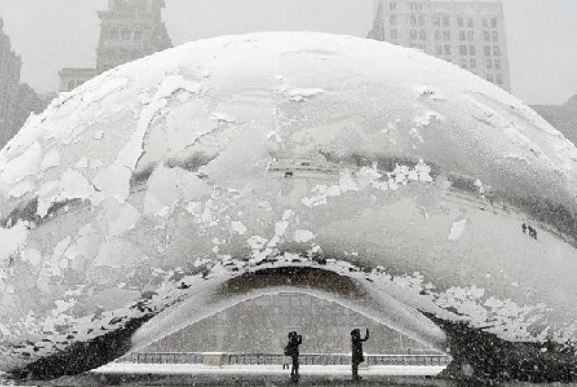 Musim dingin di Chicago. Ilustrasi