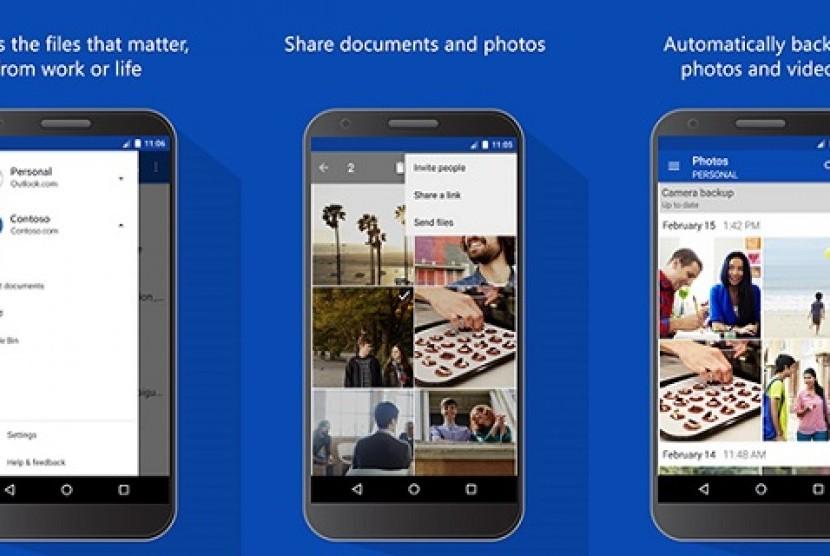 onedrive Android. Ilustrasi