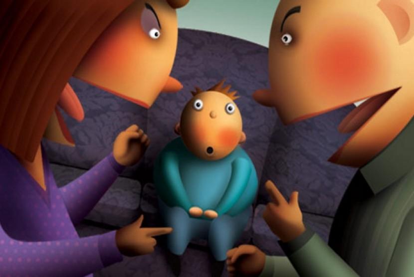 Orang tua bertengkar di hadapan anak (ilustrasi)