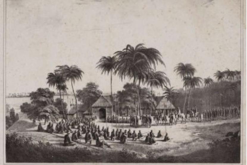 Pangeran Diponegoro naik kuda, mengenakan jubah da surban, ketika beristirahat bersama pasukannay di tepisan sungai Progo, pada penghujung tahun 1830.