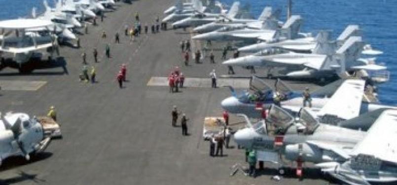 Pangkalan militer AS di kapal induk (ilustrasi)