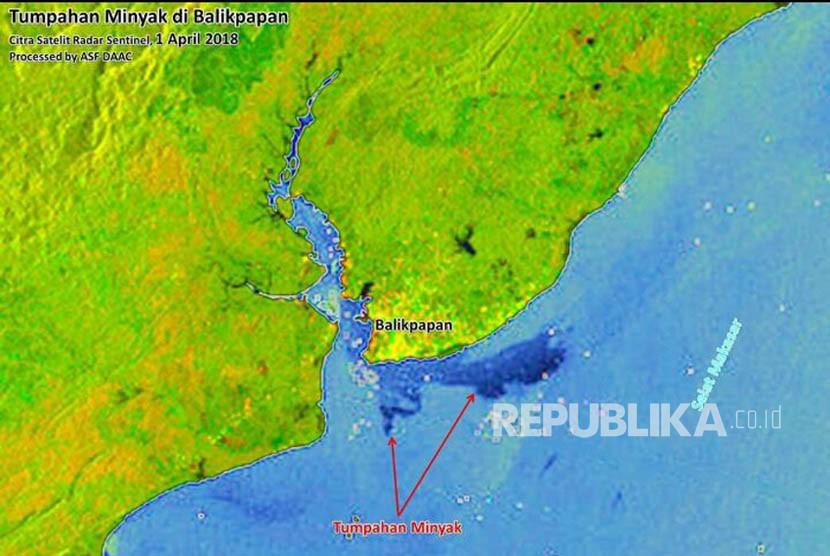 Pantauan tumpahan minyak di Balikpapan melalui citra satelit radar.