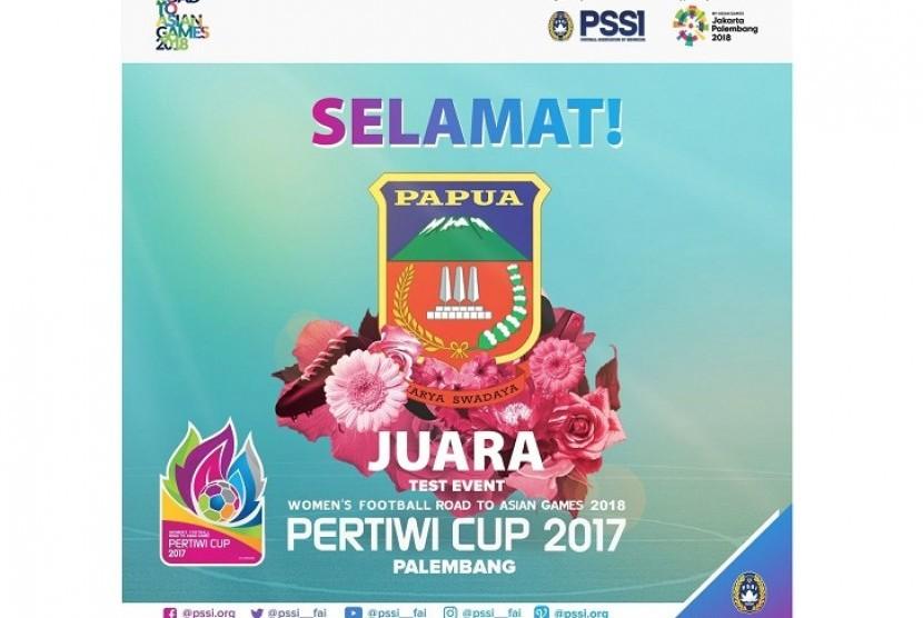 Papua mengalahkan Kalimantan Barat 2-1 pada final Piala Pertiwi 2017 di Stadion Gelora Bumi Sriwijaya, Rabu (13/12).