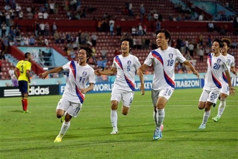 Para pemain Timnas Korea Selatan saat melakukan selebrasi pada kejuaraan Piala Dunia U-20 beberapa waktu lalu.
