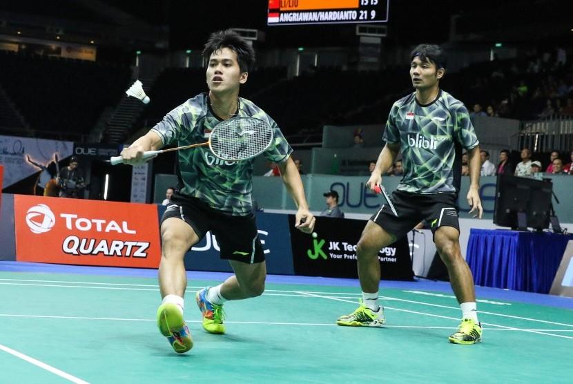 Pasangan ganda putra Indonesia, Berry Angriawan (kanan)/Hardianto (kiri).