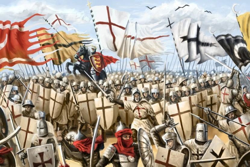 Pasukan Kristen Eropa menginvasi Yerusalem pada 14 Juli 1099 (ilustrasi).