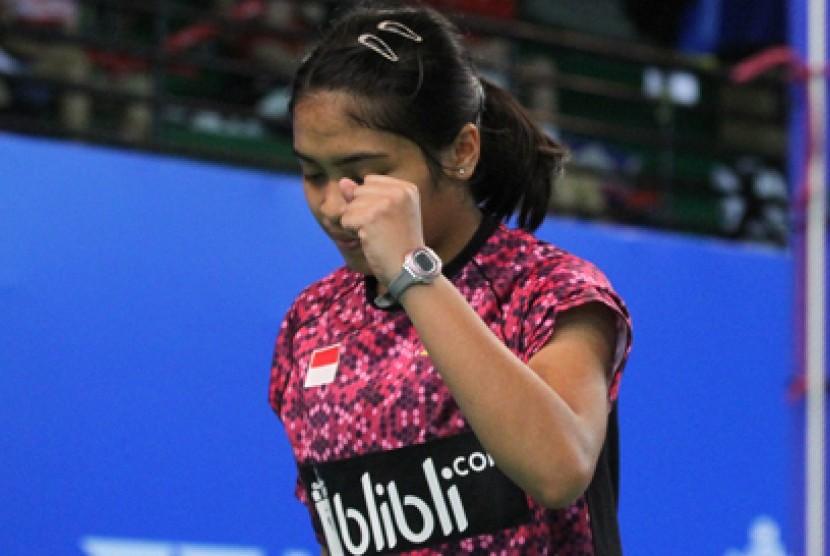 Pebulu tangkis Indonesia Gregoria Mariska Tunjung menang atas tunggal putri Cina Han Yue dengan skor 21-17 dan 21-17.