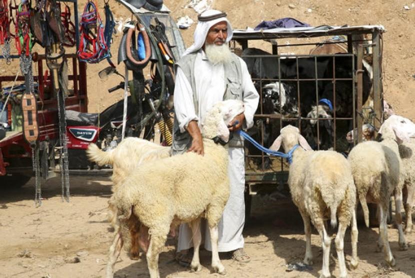 Pedagang kurban tengah menanti pembeli di Kamp Pengungsian Bureij, Jalur Gaza, belum lama ini.