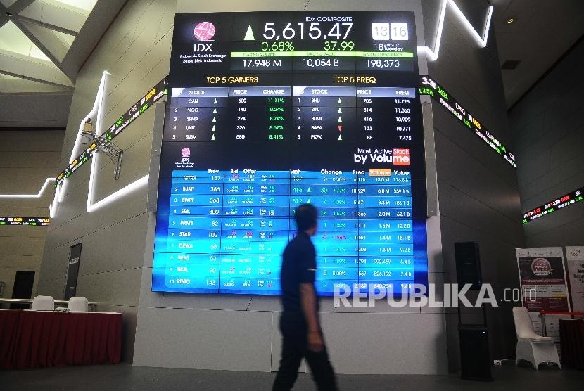 Pekerja melintas disamping layar pergerakan Indeks Harga Saham Gabungan (IHSG), Gedung Bursa Efek Indonesia (BEI) Jakarta. ilustrasi