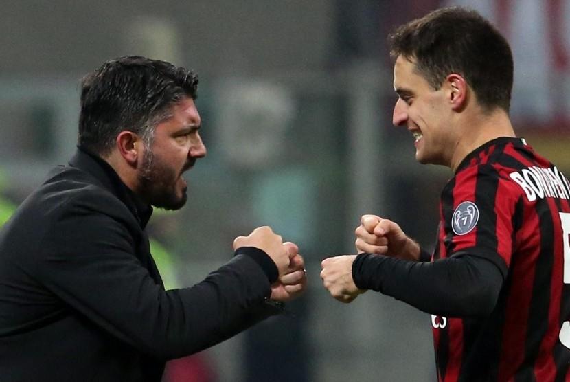 Pelatih AC Milan Gennaro Gattuso (kiri) dan Giacomo 'Jack' Bonaventura.
