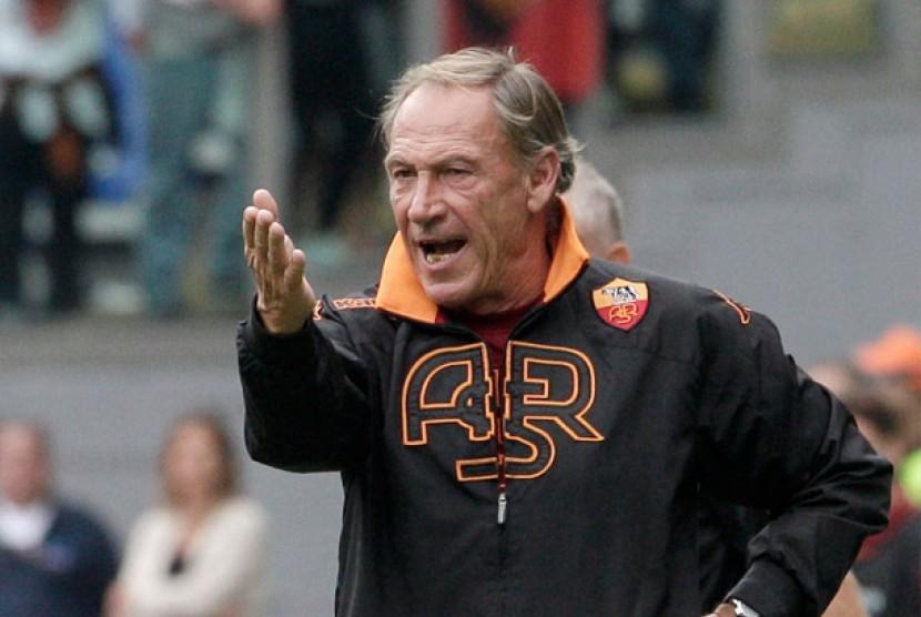 Pelatih AS Roma Zdenek Zeman.