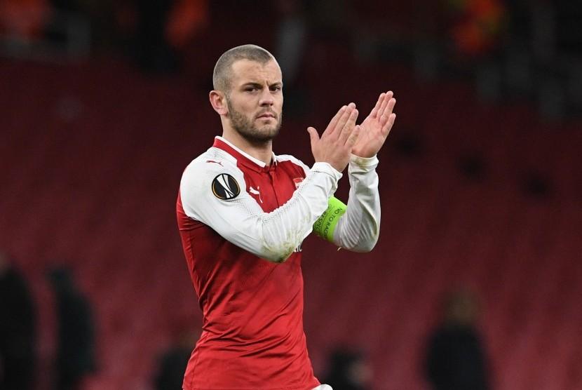 Pemain Arsenal Jack Wilshere pada laga Grup H Liga Europa Arsenal dan Bate Borisov di Stadion Emirate, London, Inggris, Jumat (8/12) dini hari WIB.