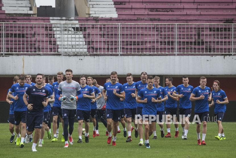 Iceland football national team during training session in Yogyakarta, Indonesia.