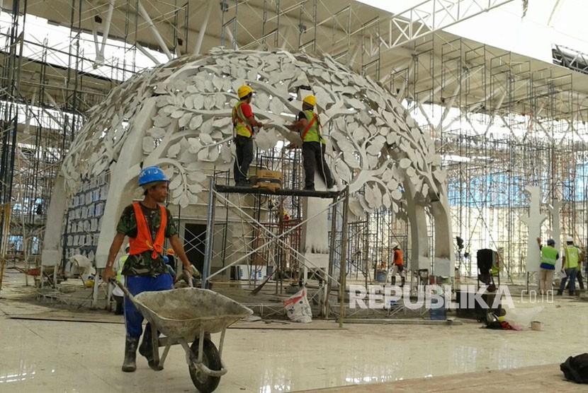 Pembangunan Bandara Internasional Jawa Barat (BIJB) di Kertajati, Kabupaten Majalengka, Rabu  (28/3).