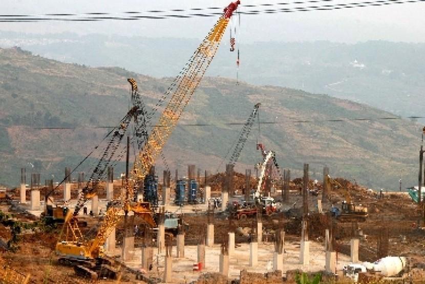 Pembangunan Stadion Hambalang di Bukit Hambalang, Sentul, Bogor.