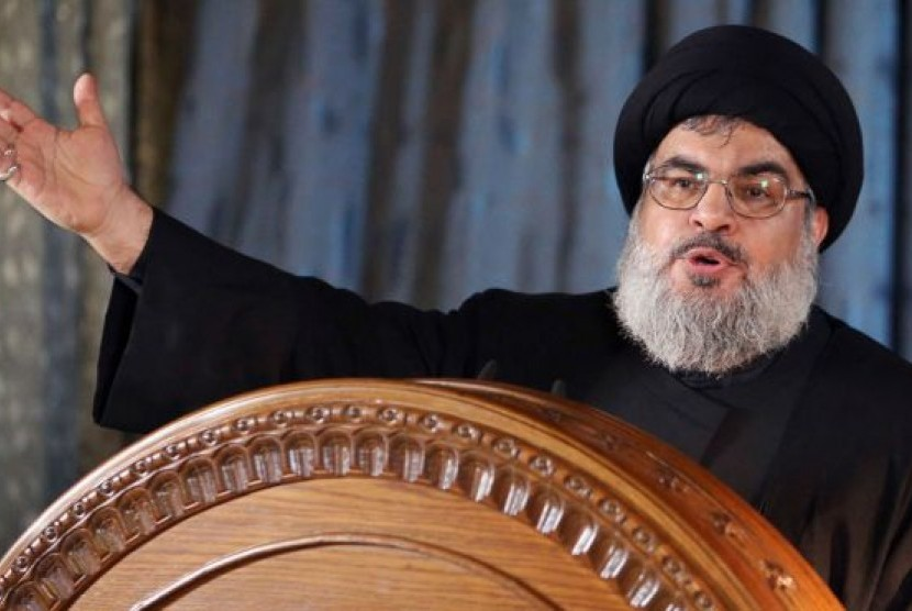 Pemimpin kelompok Hizbullah Lebanon, Sayyed Hassan Nasrallah.