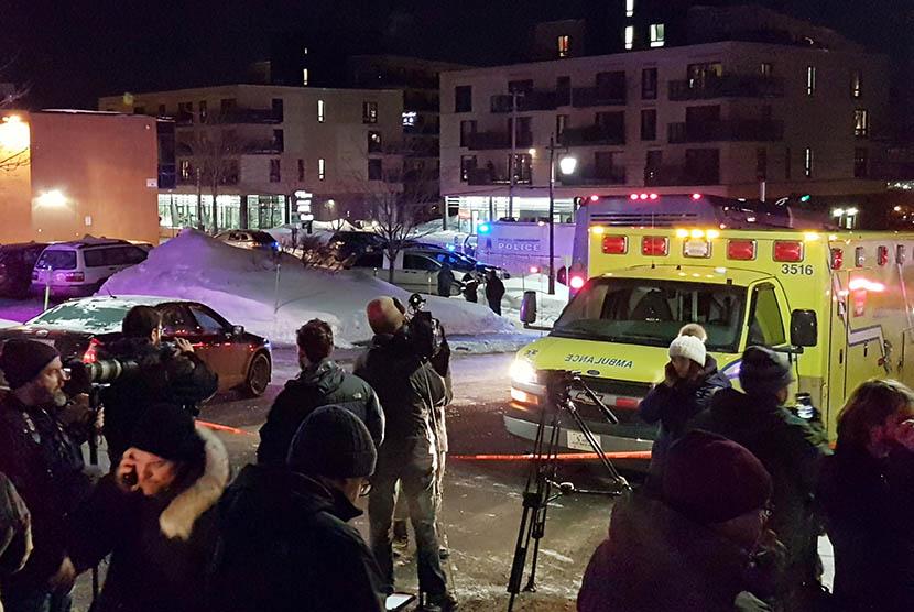 Penembakan masjid di Quebec, Senin (30/1).