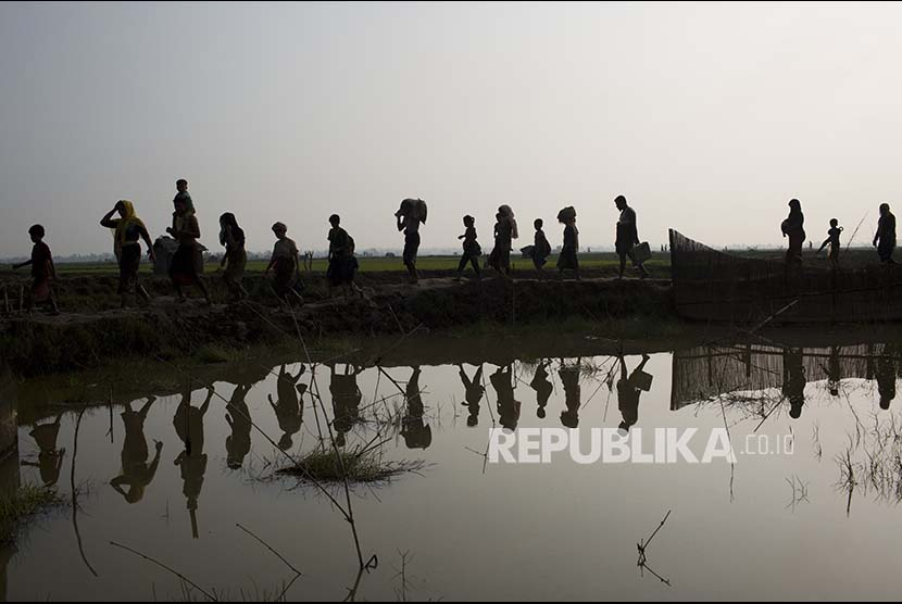 Pengungsi Rohingya melintasi pesawahan di kawasan Cox's Bazaar setelah melewati perbatasan Myanmar-Bangladesh