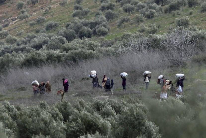 Pengungsi Suriah ke Perbatasan Turki