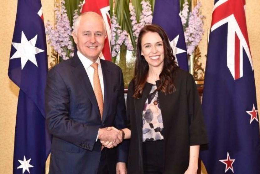 Perdana Menteri Australia Malcolm Turnbull dan Perdana Menteri Selandia Baru Jacinda Ardern.