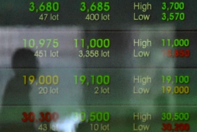 Pergerakan saham (ilustrasi)