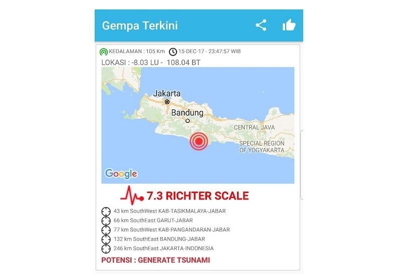 Peringatan Dini Tsunami Belum Dicabut di Pangandaran