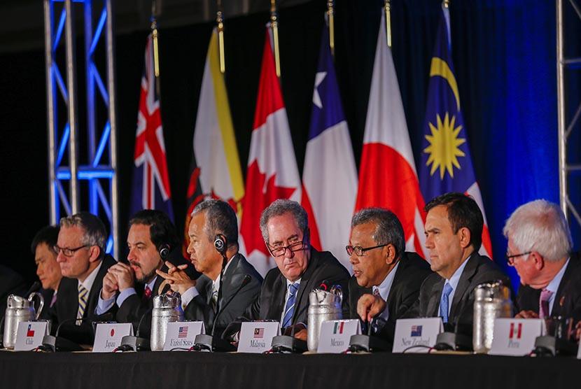 Perwakilan 12 negara yang terlibat dalam Trans Pacific Partnership (TPP) di Atlanta, negara bagian Georgia, Amerika Serikat.
