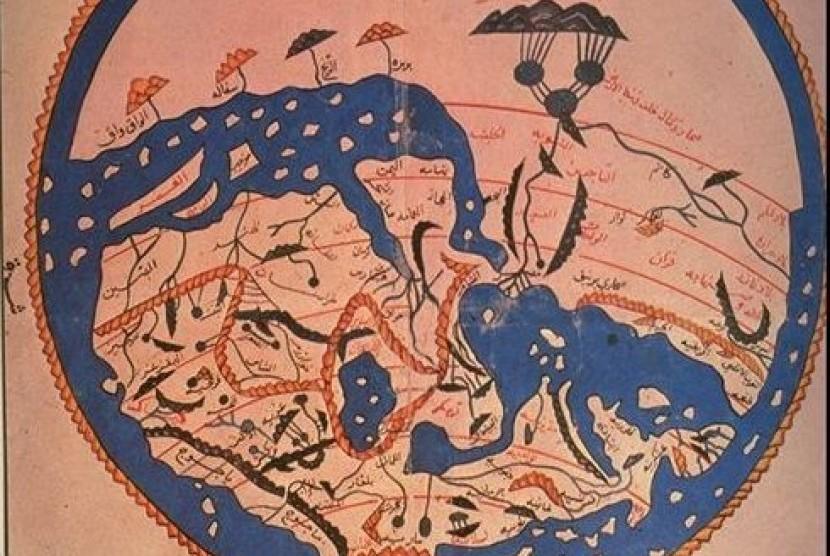 Peta dunia karya Al-Idrisi.