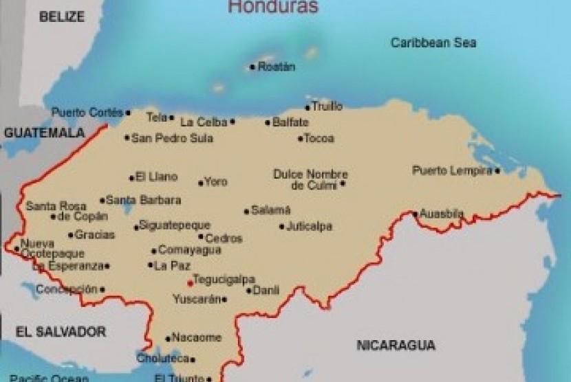 Peta Honduras, ilustrasi