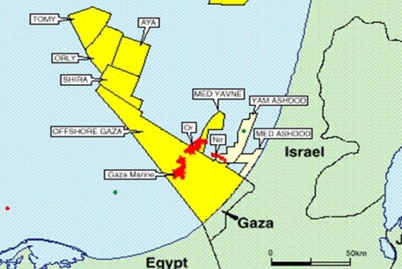 Peta lapangan gas perairan Gaza, Palestina