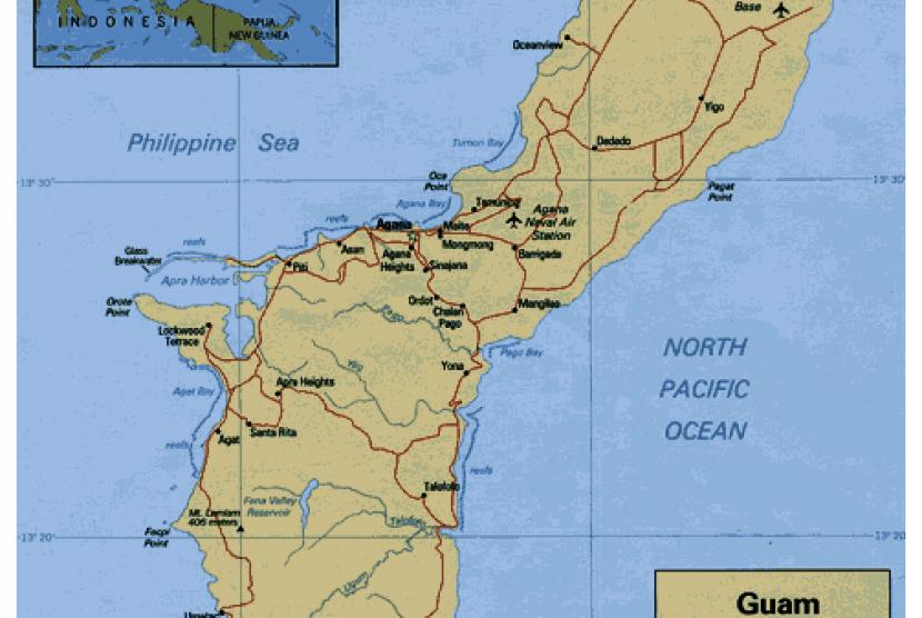 Peta negara kecil Guam yang terletak di Samudera Pasifik