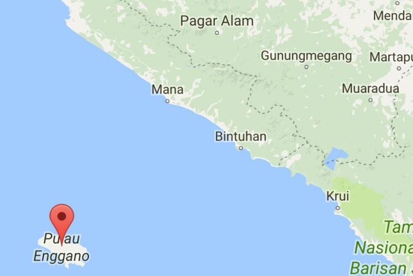 Peta Pulau Enggano yang merupakan pulau terluar Bengkulu.