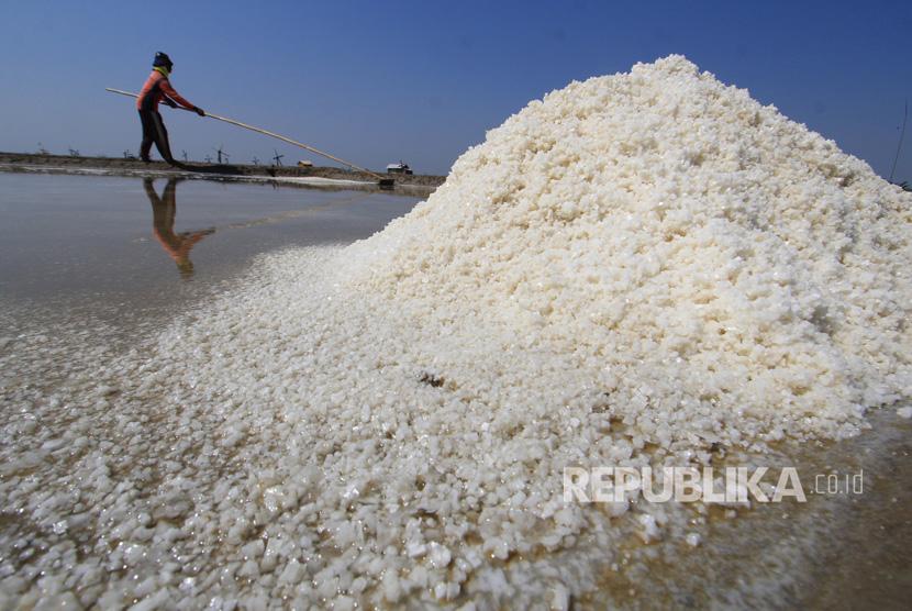 Petani memanen garam di lahan garam desa Santing, Losarang, Indramayu, Jawa Barat, Senin (31/7).