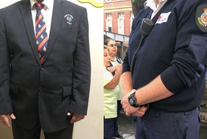 Petugas keamanan di Rumah Sakit Royal Prince Alfred (RPA) lebih suka mengenakan seragam lama (kanan) daripada yang baru (kiri).