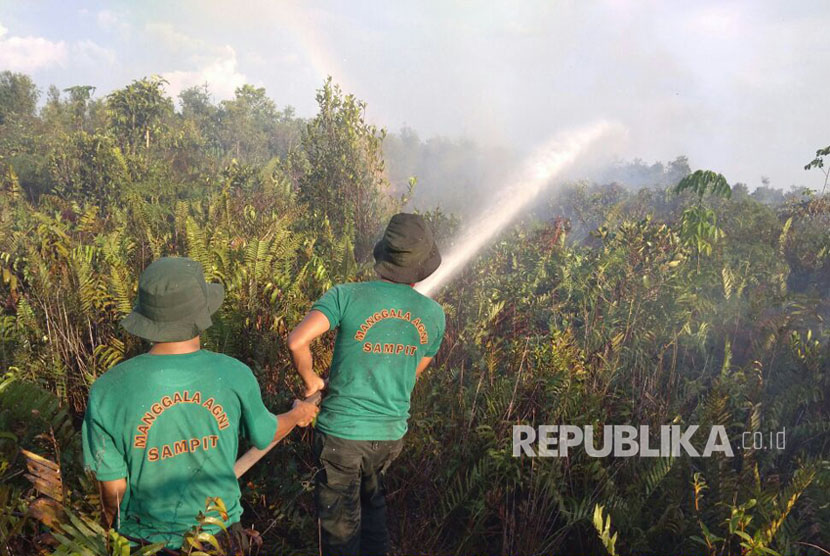 Petugas Manggala Agni melakukan pemadaman kebakaran hutan dan lahan.( ilustrasi).