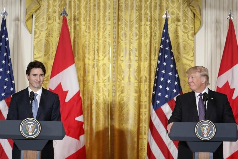 PM Kanada Justin Trudeau saat bertemu Presiden AS Donald Trump. ilustrasi