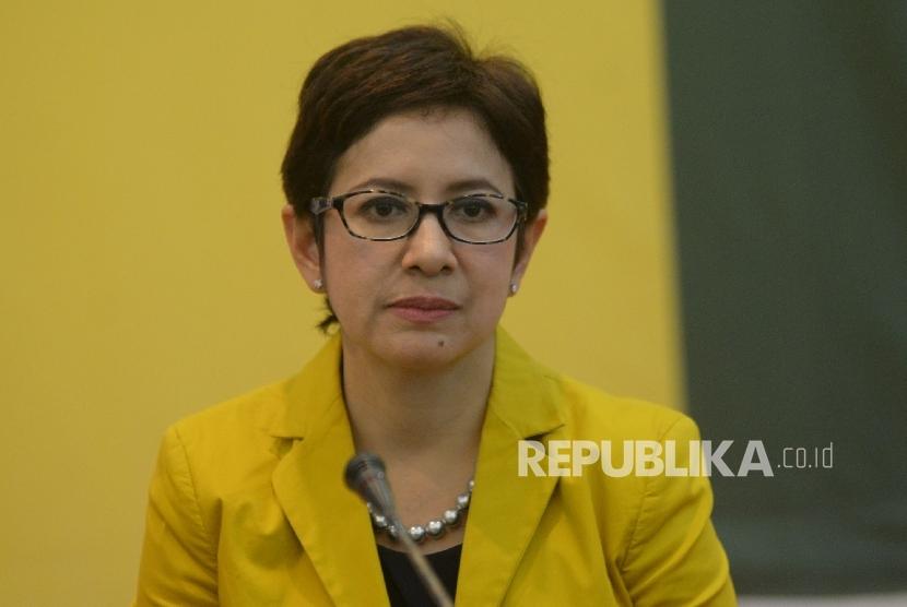 Politisi Partai Golkar Nurul Arifin saat memberikan keterangan terkait pelaksanaan HUT Partai Golkar ke 53 di Jakarta, Rabu (18/10).