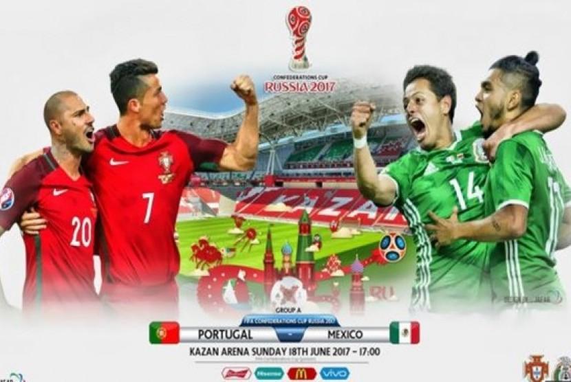 Portugal vs Meksiko pada piala konfederasi di Kazan.