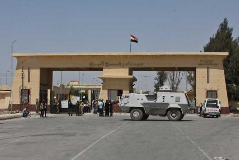 Pos penyeberangan perbatasan Rafah, antara Mesir dan Jalur Gaza, di Rafah, Mesir.